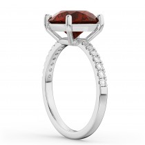 Garnet & Diamond Engagement Ring Platinum 2.71ct