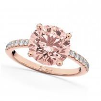 Morganite & Diamond Engagement Ring 14K Rose Gold 1.96ct