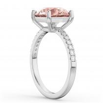 Morganite & Diamond Engagement Ring 14K White Gold 1.96ct|escape
