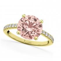Morganite & Diamond Engagement Ring 18K Yellow Gold 1.96ct