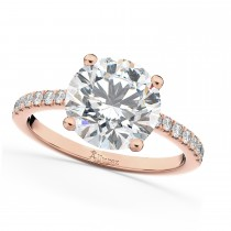 Moissanite & Diamond Engagement Ring 14K Rose Gold 1.81ct