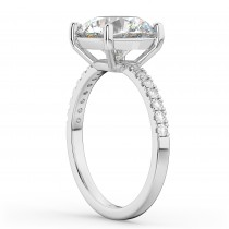 Moissanite & Diamond Engagement Ring 14K White Gold 1.81ct