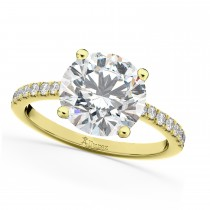 Moissanite & Diamond Engagement Ring 14K Yellow Gold 1.81ct