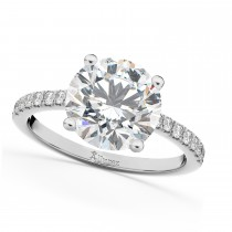 Moissanite & Diamond Engagement Ring 18K White Gold 1.81ct