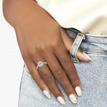 Moissanite & Diamond Engagement Ring 18K White Gold 1.81ct