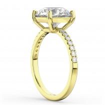 Moissanite & Diamond Engagement Ring 18K Yellow Gold 1.81ct