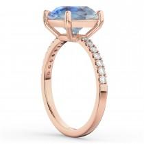 Moonstone & Diamond Engagement Ring 14K Rose Gold 2.71ct