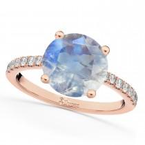 Moonstone & Diamond Engagement Ring 18K Rose Gold 2.71ct