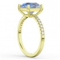 Moonstone & Diamond Engagement Ring 18K Yellow Gold 2.71ct