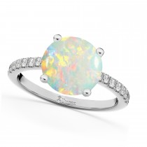 Opal & Diamond Engagement Ring 14K White Gold 1.51ct