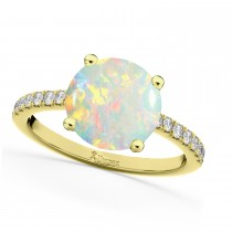Opal & Diamond Engagement Ring 14K Yellow Gold 1.51ct