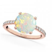 Opal & Diamond Engagement Ring 18K Rose Gold 1.51ct