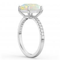 Opal & Diamond Engagement Ring 18K White Gold 1.51ct