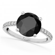 Onyx & Diamond Engagement Ring 18K White Gold 2.71ct