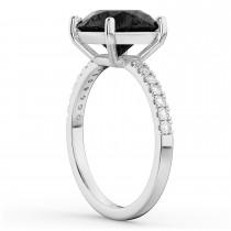 Onyx & Diamond Engagement Ring Palladium 2.71ct
