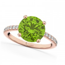 Peridot & Diamond Engagement Ring 14K Rose Gold 2.21ct