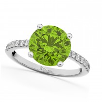 Peridot & Diamond Engagement Ring 14K White Gold 2.21ct