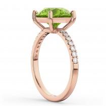 Peridot & Diamond Engagement Ring 18K Rose Gold 2.21ct