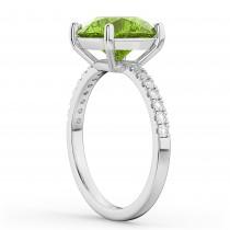 Peridot & Diamond Engagement Ring 18K White Gold 2.21ct