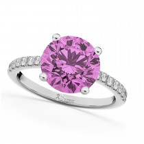 Pink Sapphire & Diamond Engagement Ring 14K White Gold 2.51ct