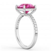 Pink Tourmaline & Diamond Engagement Ring 14K White Gold 2.21ct