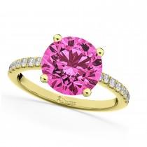 Pink Tourmaline & Diamond Engagement Ring 18K Yellow Gold 2.21ct