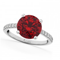 Ruby & Diamond Engagement Ring 14K White Gold 2.51ct