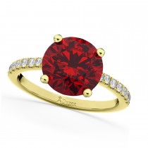 Ruby & Diamond Engagement Ring 14K Yellow Gold 2.51ct