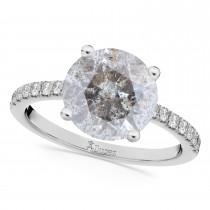 Salt & Pepper & White Diamond Engagement Ring 14K White Gold (2.21ct)