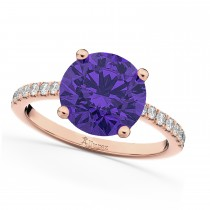 Tanzanite & Diamond Engagement Ring 14K Rose Gold 2.51ct