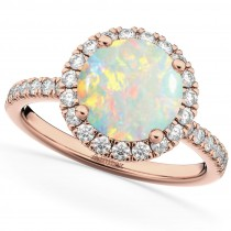 Halo Opal & Diamond Engagement Ring 14K Rose Gold 1.80ct