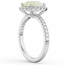 Halo Opal & Diamond Engagement Ring 14K White Gold 1.80ct|escape