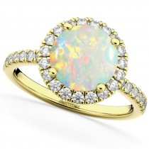 Halo Opal & Diamond Engagement Ring 14K Yellow Gold 1.80ct