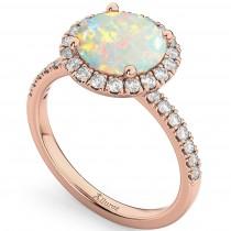 Halo Opal & Diamond Engagement Ring 18K Rose Gold 1.80ct