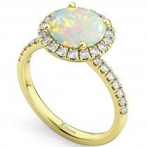 Halo Opal & Diamond Engagement Ring 18K Yellow Gold 1.80ct