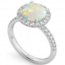 Halo Opal & Diamond Engagement Ring Platinum 1.80ct
