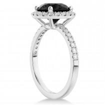 Halo Onyx & Diamond Engagement Ring 14K White Gold 2.90ct
