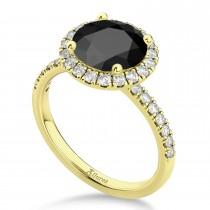 Halo Onyx & Diamond Engagement Ring 14K Yellow Gold 2.90ct
