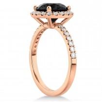 Halo Onyx & Diamond Engagement Ring 18K Rose Gold 2.90ct