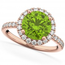 Halo Peridot & Diamond Engagement Ring 14K Rose Gold 2.50ct