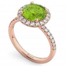 Halo Peridot & Diamond Engagement Ring 14K Rose Gold 2.50ct