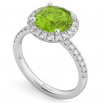 Halo Peridot & Diamond Engagement Ring 14K White Gold 2.50ct