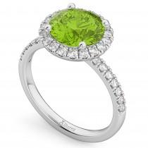 Halo Peridot & Diamond Engagement Ring 18K White Gold 2.50ct