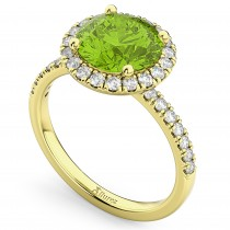 Halo Peridot & Diamond Engagement Ring 18K Yellow Gold 2.50ct
