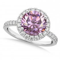 Halo Pink Moissanite & Diamond Engagement Ring 14K White Gold 2.10ct