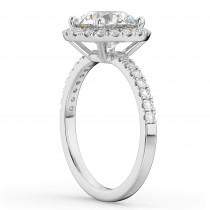 Round Halo Diamond Engagement Ring Palladium (2.50ct)