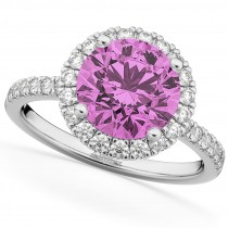 Halo Pink Sapphire & Diamond Engagement Ring 14K White Gold 2.80ct