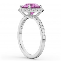 Halo Pink Sapphire & Diamond Engagement Ring 14K White Gold 2.80ct