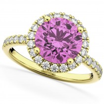 Halo Pink Sapphire & Diamond Engagement Ring 18K Yellow Gold 2.80ct