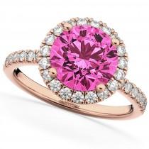 Halo Pink Tourmaline & Diamond Engagement Ring 14K Rose Gold 2.50ct